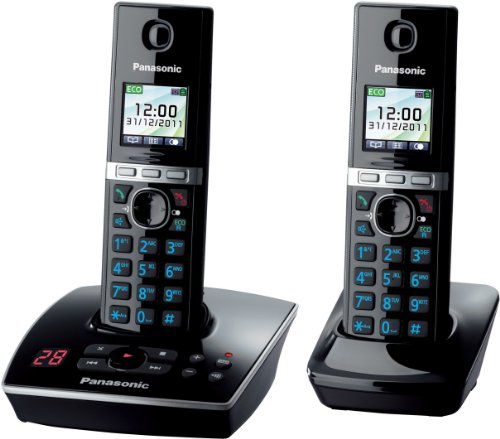 Panasonic KX-TG8062GB Telefon schnurlos mit Anrufbeantworter (2 Mobilteile) schwarz