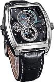 QHG Moda Impermeable Reloj automático Negocio analógico mecánico Esqueleto Relojes para Hombres Luminoso Negro Cuero Genuino Reloj de Pulsera