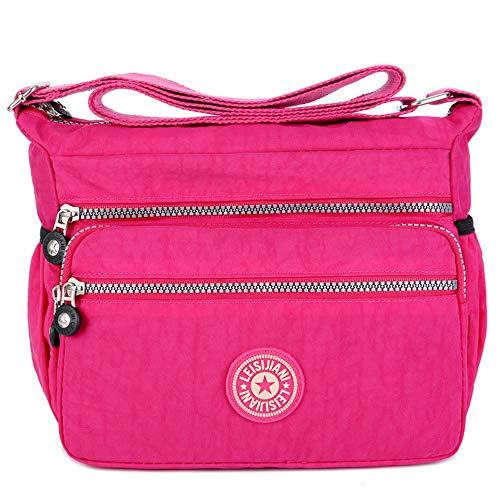 MINGZE Sac d'épaule de maman, Sac bandoulière léger Multi-poches en nylon Sac messenger imperméable pour femmes, Sac à main à pour dames et filles (Rouge)