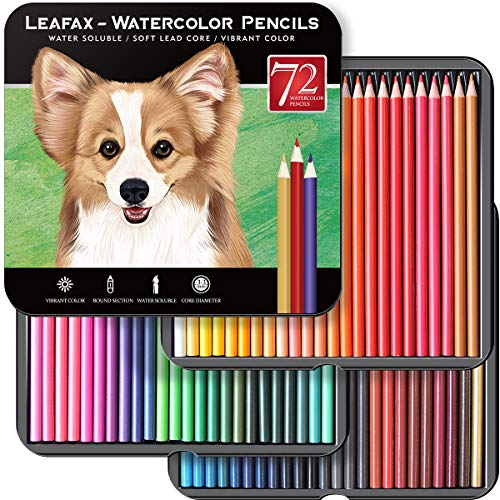 LEAFAX Art Supplies 72 Watercolor Pencils Set for Adults Artists Professionals - Vibrant Colors Pretty Blending Effects with Water, Premium Artist Lead Core