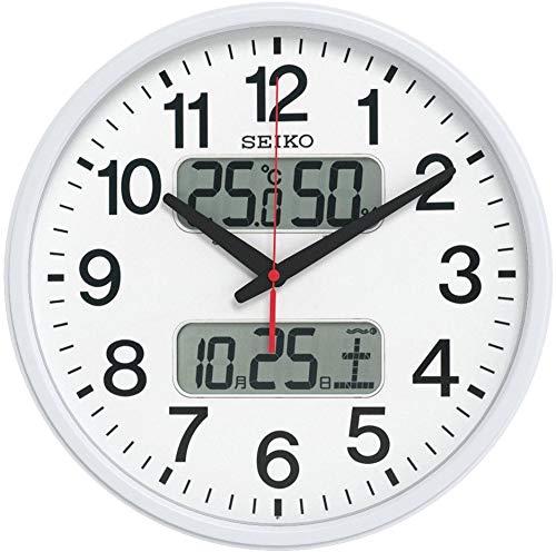 『セイコー クロック 掛け時計 電波 アナログ カレンダー 温度 湿度 表示 銀色 メタリック KX237S SEIKO』のトップ画像