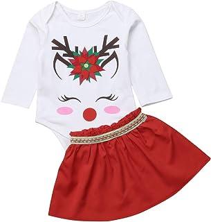 Qinngsha niedliches Weihnachts-Elch-Design mit Hirsch-Blumenmuster, lange Ärmel  Strampler, solider Mini-Rock, Anzug 2 Stück