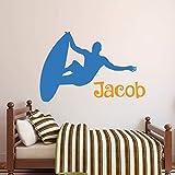 Nombre Personalizado Personalizado Etiqueta De Pared De Surf Extremo Niños Dormitorio Niños Habitación Decoración De Arte Cool Vinyl Mural 1 61X41Cm