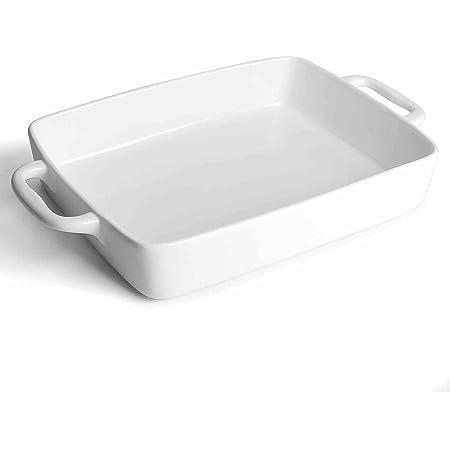 Baking Pan Rectangular, Oven Dish Baking Tray, Heavy Duty Ceramic Pans for Cake, Lasagna, Banquet and Daily Use, 4 Quart High Capacity
