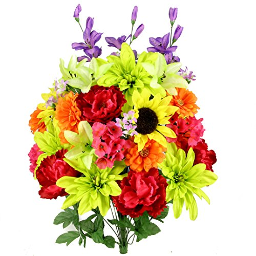 Admired By Nature 36 Stems Artificial New Dahlia, Sunflower, Peony, Hydrangea Mixed Flower Bush...