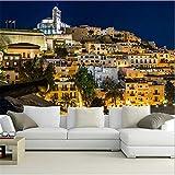 Rureng Custom 3D Gran Mural DeEspaña Casas Ibiza NightmuralSofá De La Sala Tv Pared Dormitorio Papel De Pared-400X280Cm