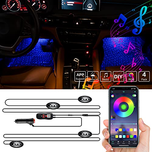 OONOL Interior Car Light-LED Neon Star Projector Light for Dash Underglow, Music Sync with Bluetooth and IR Remote (Cigarette Lighter & USB Port) , 2 Lines Lighting Kits Waterproof