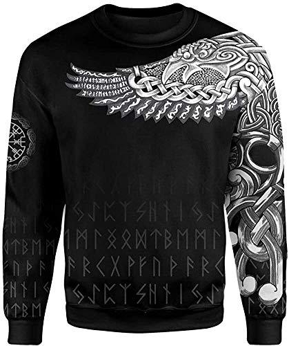 DFWY 2021 Vintage Odin Rune 3D-Gedruckter Hoodie, Nordische Mythologie Viking Tattoo Pagan Pullover, Mode Herbst Langarm Neutral Street Sweatshirt (Color : Sweat, Size : XX-Large)