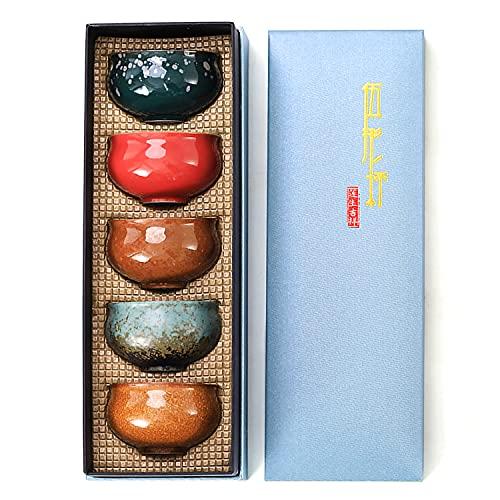 Juego de 5 tazas de té de cerámica vintage estilo chino/japonés, juego de regalo