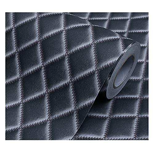 ZSFBIAO lámina Decorativa Impermeable Vinilo Pegatina Autoadhesivo Decorativo Vinilo Adhesivo PVC Decoración para Muebles Pegatina Vinilo Decorativos (Size:60cm*15m,Color:Leather Black)