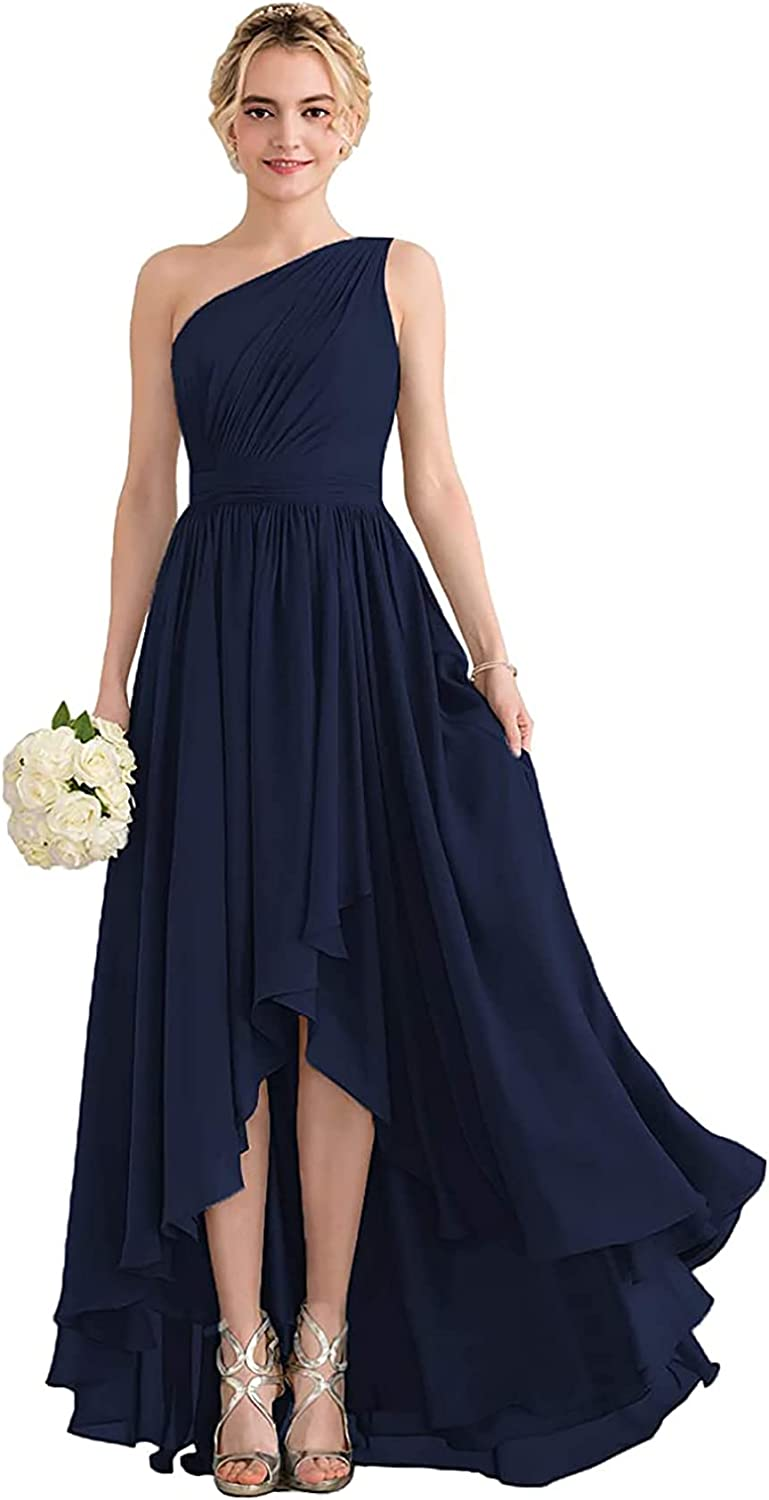 Ro Monica One Shoulder Bridesmaid Dresses for Women High Low Formal Evening Gown A-Line Chiffon with Pockets