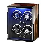 XXSHN Cajas de Reloj para Hombres Caja de enrollador de Reloj 4 Adaptador de Corriente alterna para Reloj automático y Luces de Colores alimentadas por batería Almohadas de Reloj Ajustables Clásico/B