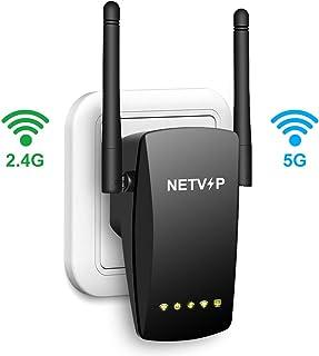 NETVIP Repetidor WiFi AC1200 Extensor WiFi Amplificador Señal Router WiFi Extensor Banda Dual (300Mbps en 2,4GHz y 867Mbps en 5GHz) Punto de Acceso WiFi, Puerto Ethernet, Alta Gain Antenas Externas