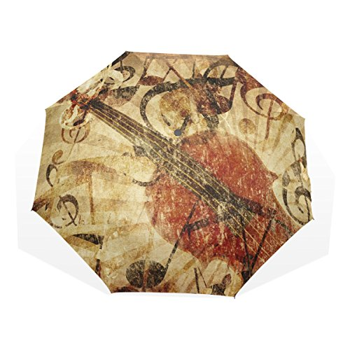 AOMOKI 折り畳み傘 日傘 折りたたみ傘 手開き 三つ折り 梅雨対策 晴雨兼用 UVカット 耐強風 8本骨 男女兼用 ヴァイオリン 復古 音楽 北欧