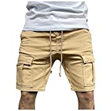Pantalones Cortos Hombre Deporte de Color Liso Shorts Hombre con Bolsillos Laterales Pantalones Cortos Hombre Verano con Cordón Ajustables Pantalon Corto Hombre Deporte Pantalones de Trabajo Verano