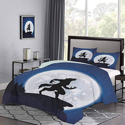 Quilt Cover Full Moon Night Sky Growling Werewolf Mythical Creature in Woods Halloween Modern Style Quilt Cover Shrinkage and Fade Resistant - Easy Care Dark Blue Black White, Twin Size