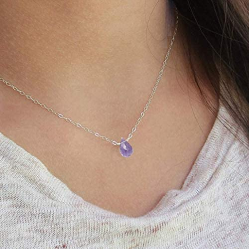 Amethyst Necklace Handmade Genuine Healing Crystal Necklace with Sterling Silver Chain 16 18 product image