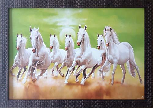 Shree Handicraft Seven (7) White Running Horses Photo Frame Home Decorative Item (49 cm x 34 cm x 1 cm, Without Glass)
