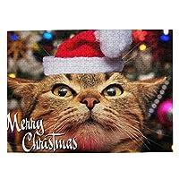 木製パズル 可愛い子猫 クリスマス ハット 500ピース ジグソーパズル 遊び 雰囲気 減圧 おもちゃ 漫画 壁飾り 学生 子供 大人 絵画 贈り物