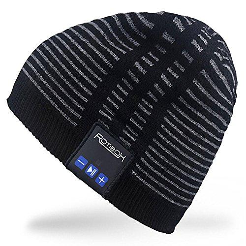 Rotibox Wireless Bluetooth Beanie Hut Ohr Abdeckungen Kopfhörer Headset Musik Cap für Frauen Männer mit Lautsprecher Mic Hands Free Outdoor Sport, kompatibel mit iPhone 7/7 Plus, Samsung, Schwarz
