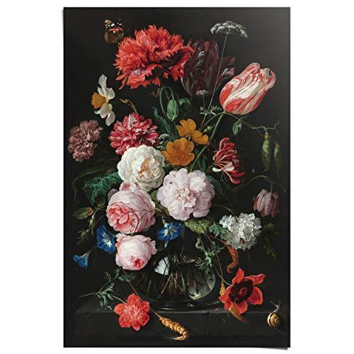 Maxi Poster Stilleven met bloemen Jan Davidsz de Heem - Boeket - Oude Meester - Rijksmuseum - 61 x 91 cm Woonkamer