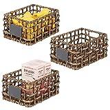 mDesign Juego de 3 cestas organizadoras de Armario o Estante – Canasta Trenzada de Jacinto de Agua con Etiqueta – Cesto extraíble con Asas para baño, salón, etc. – 22,9 x 30,5 x 15,2 cm – marrón