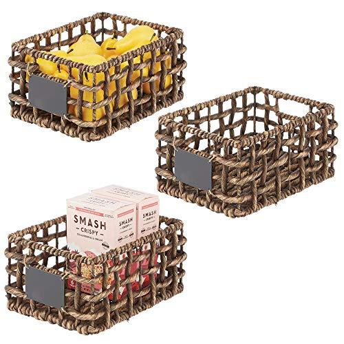 mDesign Water Hyacinth Open Weave Kitchen Cabinet Pantry Basket with Built-in Chalkboard Label for Snacks, Produce, Vegetables, Pasta - Food Safe 3 Pack - Natural