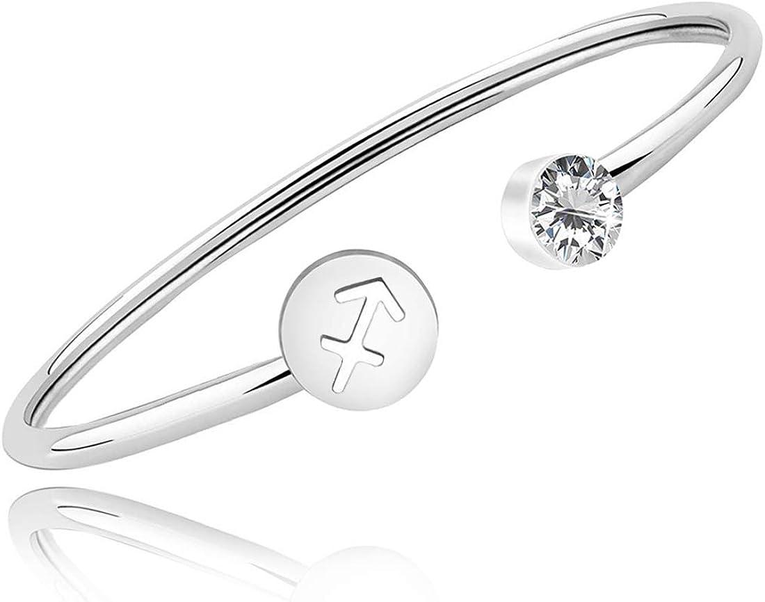 HOLLP Birthday Gift Zodiac Sign Cuff Bracelet with Clear Birthstone Zodiac Bracelets for Women Girls