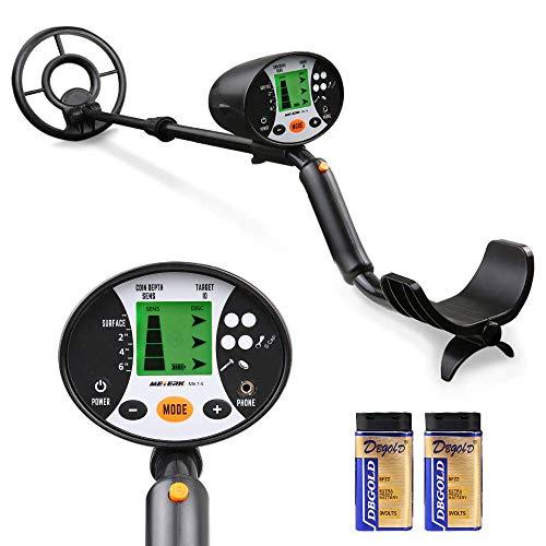Meterk Detector de Metales subterráneos de Alta precisión, 2 Modo de búsqueda Pantalla LCD Bobina de búsqueda Sensible Resistente al Agua fácil de Usar Adecuado para Profesionales, Principiantes