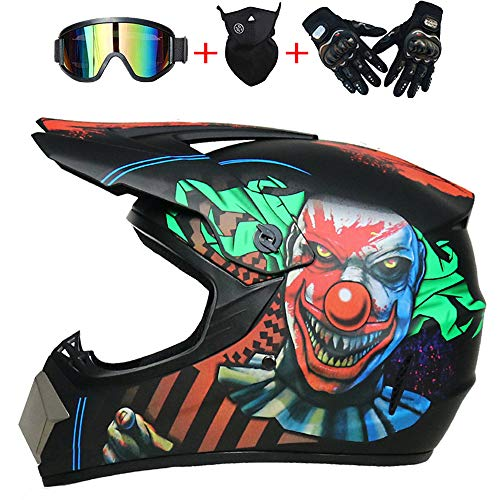 AKBOY Payaso Cascos de Moto Integrales Casco de Motocross Adulto Hombre con Visera, Cross Kit Casco Bicicleta Motorcycle Off-Road Quad...