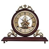 Bdb Reloj de sobremesa, Relojes Vintage de Madera Decorativos, Reloj de Chimenea de diseño de Madera para Sala de Estar, Chimenea, Oficina, Escritorio Reloj de Escritorio (Color : 0816 - Hollow Core)