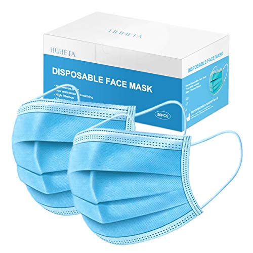 50 Pcs Disposable Face Mask 3-Ply Breathable & Comfortable Filter Safety Mask, Protective Blue Masks for Indoor and Outdoor