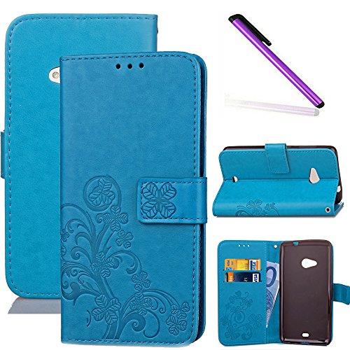 COTDINFOR Nokia Lumia 535 Custodia Cover Elegante Retro Donna Clover Embossing PU in Pelle con Wallet Card Holder Flip Custodia per Nokia Lumia 535 Clover Blue SD