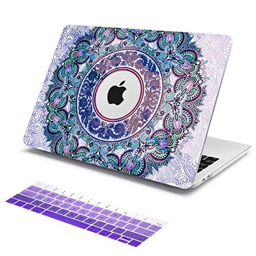 Batianda Hülle für altes MacBook Pro 13 Zoll (Modell: A1278-Laufwerk) Premium-Schutzhülle im Paisley-Design mit Farbverlauf für die Tastatur, lila