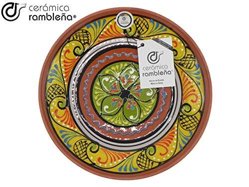 CERÁMICA RAMBLEÑA | Plato Decorativo para Colgar en Pared | Plato de cerámica | Plato decoración Mediterránea Amarillo-Blanco-Verde | 100% Hecho a Mano | 28x28x4,5 cm