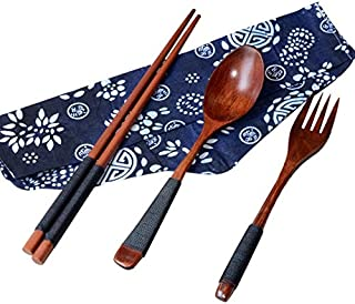 3Pcs Top Sale Japanese Vintage Wooden Cutlery Set Tableware Fork Tableware Cozinha Picnic Kitchen Accessories Cooking Tools A