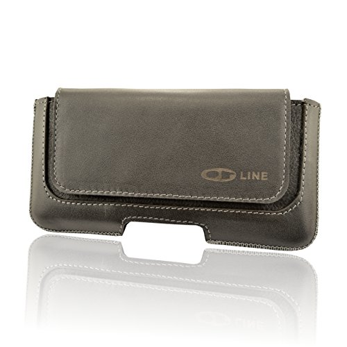 OrLine Handytasche geeignet für Alcatel Idol 3C Ledertasche Gürteltasche ECHT Leder Hülle Hülle mit Gürtelclip, Schlaufe & Magnetverschluss Schwarz/Graphit