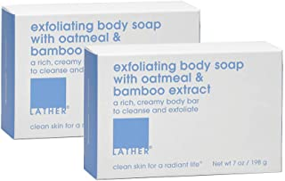 LATHER Exfoliating Body Soap With Oatmeal & Bamboo Extract, 7 Ounce (2 Bars)