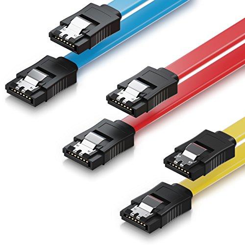 deleyCON 3X 50cm SATA III Kabel im Set S-ATA 3 Datenkabel - HDD SSD Verbindungskabel Anschlusskabel Metall-Clip 6 GBit/s - 2 Gerade L-Type Stecker - Gelb Rot Blau