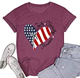 Women American Flag Print Tee Faith Family Freedom Short Sleeve Blouse T-Shirt Tops (Fuchsia, Medium)