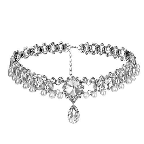 Petalum Damen Modeschmuck Legierung Halskette Silber Gold Choker Mehrreihig Halsband Multilayer Jewelry Nacklace Party Geschenk (Chocker Halskette Silber)
