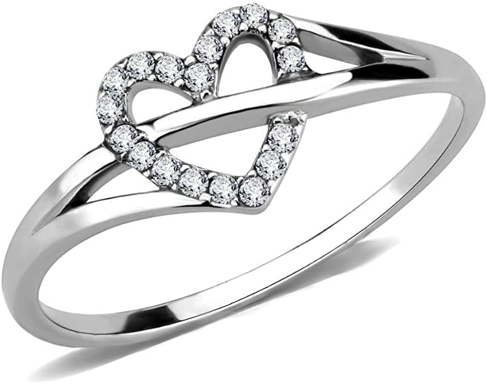 Stainless Steel Heart Shaped Wedding Engagement Anniversary Propose Ring