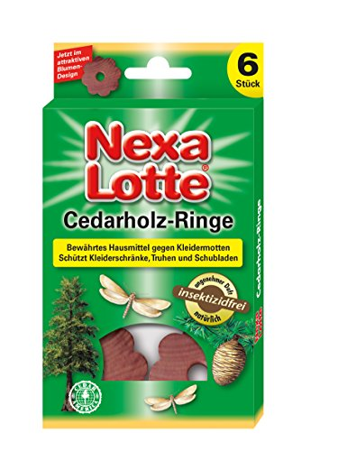 Nexa Lotte 3637 Cedar Bois Anneaux, Anti Mites, 9,5 x 1,10 x 16,6 cm, Lot de 4