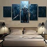 Muraon Dekoration Malerei 5 Stücke The Witcher 3 Wilde Jagd Wandkunst HD Drucken Moderne Poster Spiel Leinwand Modulare Bilder @ 40X60 40X80 40X100cm_Framed