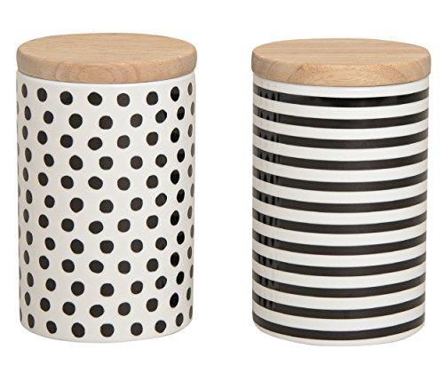henger-mauk Vorratsdosen 2er Set aus Porzellan, mit Deckel aus Bambus mit Gummidichtung Weiß/Schwarz Punkte/Streifen