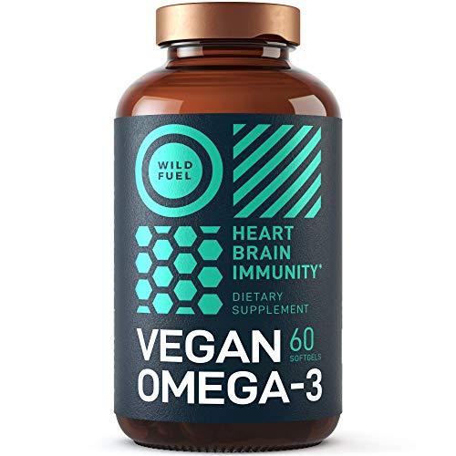 Vegan Omega 3 Supplement - Wild Fuel Algae Omega 3 Vegan DHA and EPA Fatty Acids - Fishless, Cruelty-Free, Burpless, Tasteless - Heart, Brain, Joints, and Immunity Support - 60 Softgels