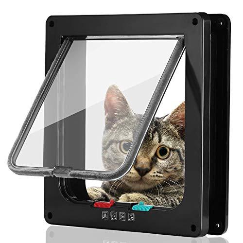 Smilelove Gattuccio per cani con chiusura magnetica a 4 vie per gatti, porta di cane, porta per animali domestici, facile da installare con telaio telescopico (nero M 19 x 20 x 5,5 cm)