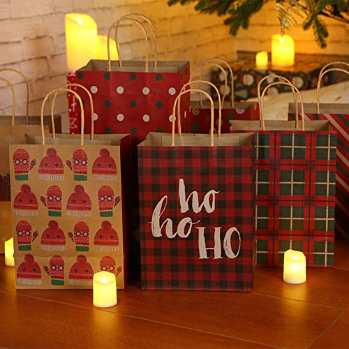 Christmas Gift Bags 28 Count,Medium Size Bulk Kraft Paper Gift Bags with Handles,Brown Shopping Bags, Party Bags,Goody Bags,Favor Bags