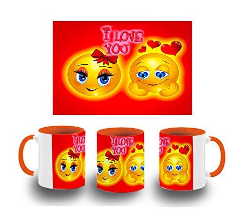 MERCHANDMANIA Taza Naranja Emoticono Amor San Valentin Color mug