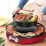 Kacsoo Padella per barbecue multifunzione BBQ Hot Pot Grande capacità 2 in 1 doppio controllo della temperatura Design a doppia divisione Facile da pulire Per riunioni di famiglia, cene aziendali ecc